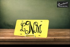 Gold Interlocking Monogram License Plate
