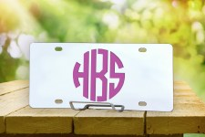 Personalized Monogram License Plate Round Logo